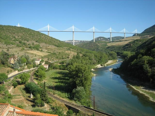 Tarn valley and Millau viaduct at Peyre between St.Rome-de-Tarn and Millau